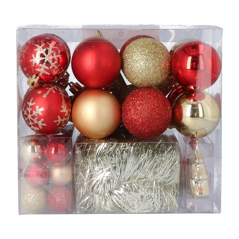 4goodz 44-delige decoratieve kerstballen Rood/Goud - binnen en buiten