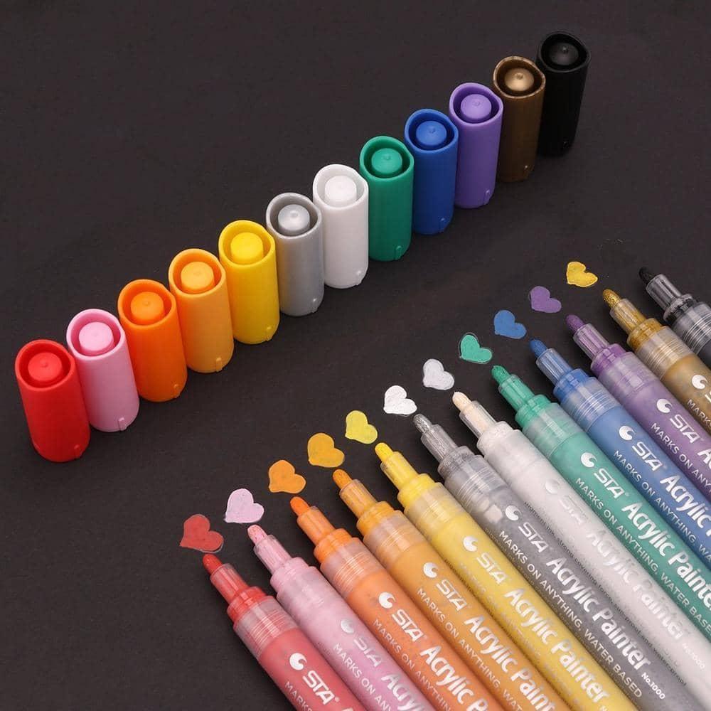 4artz® acryl stiften set - 12 kleuren - happy stone markers