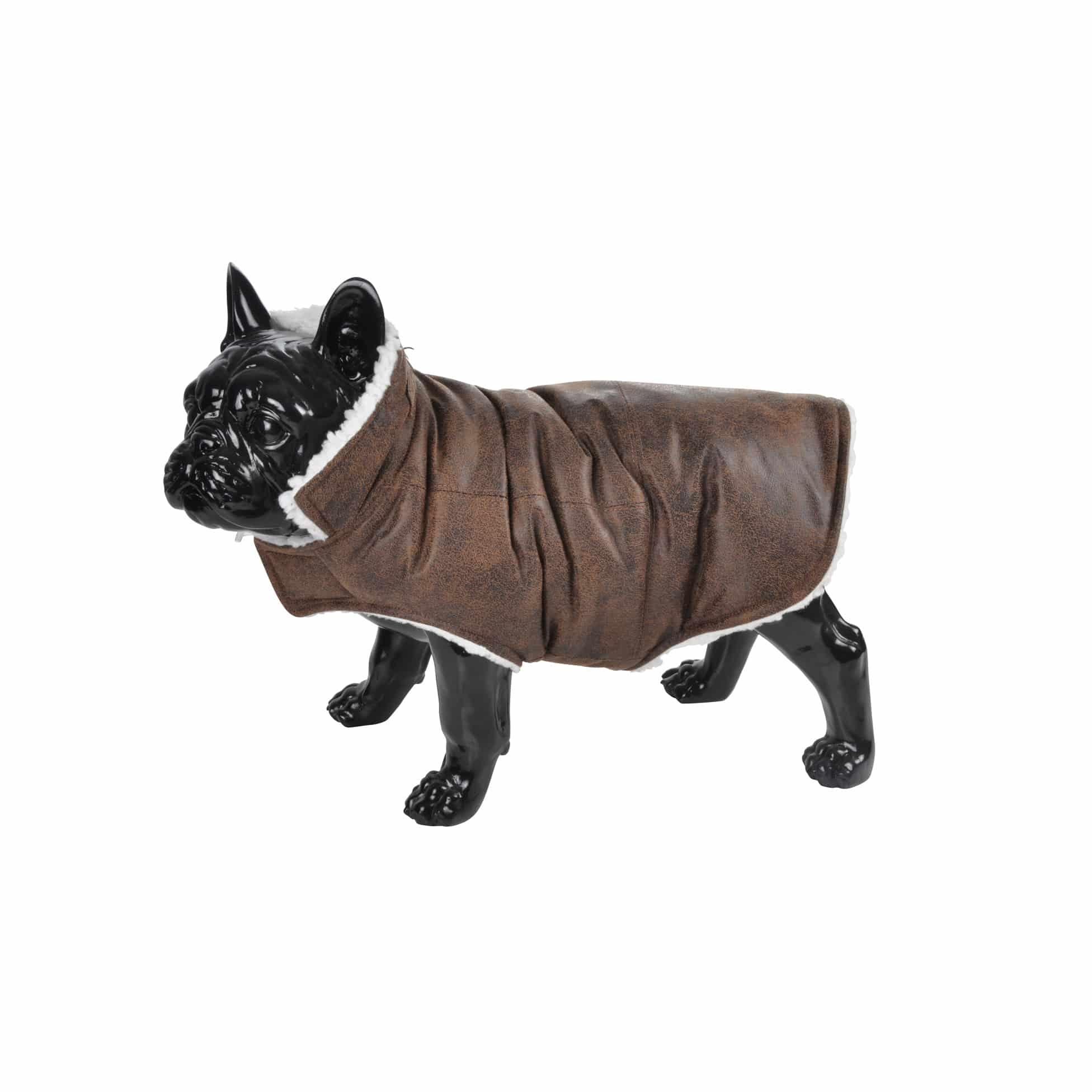 4Goodz warm lederlook vliegeniersjas hondenjas 30 cm - Chocolade Bruin