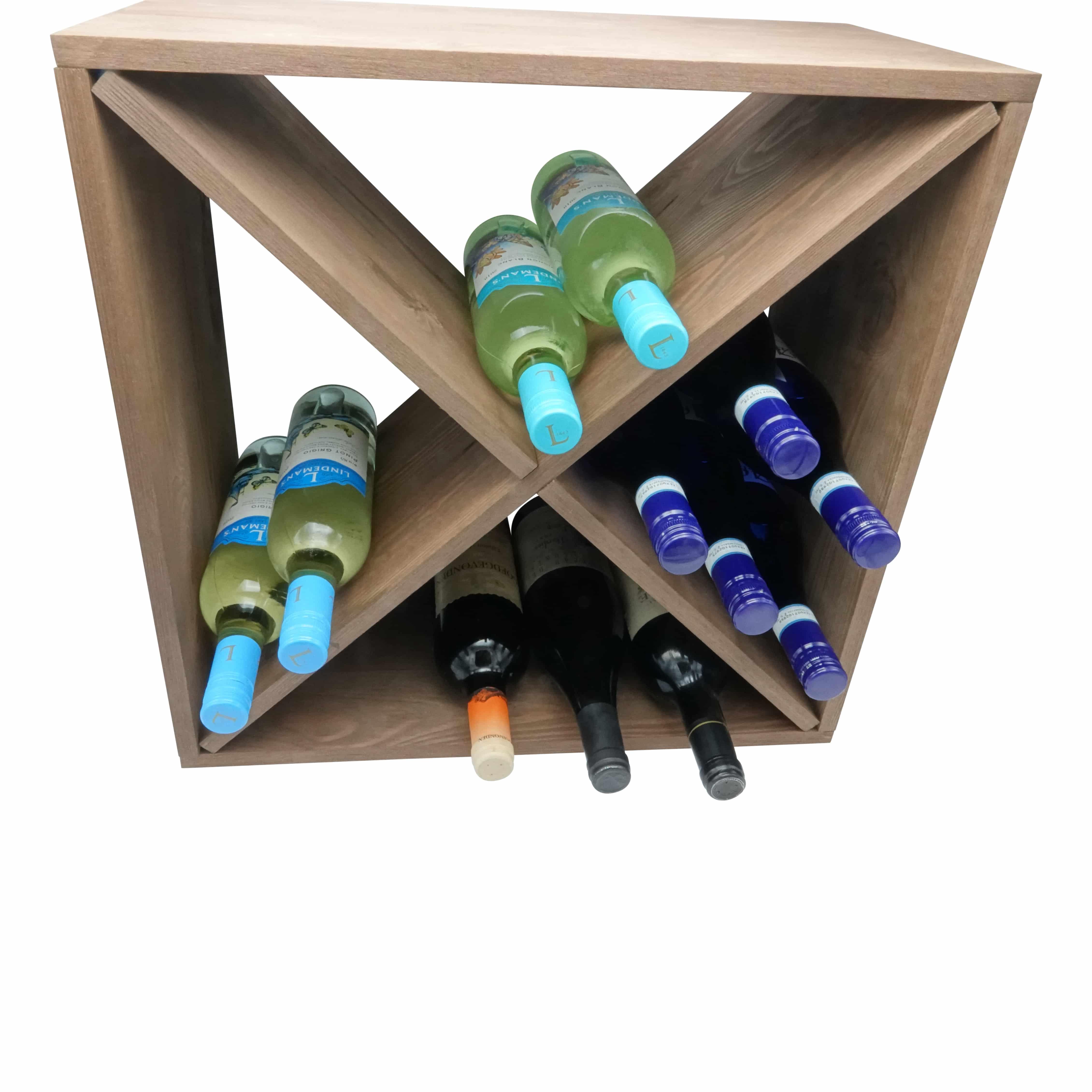 4goodz Wijnrek Cross voor 24 flessen - 50x50x25cm - Bruin