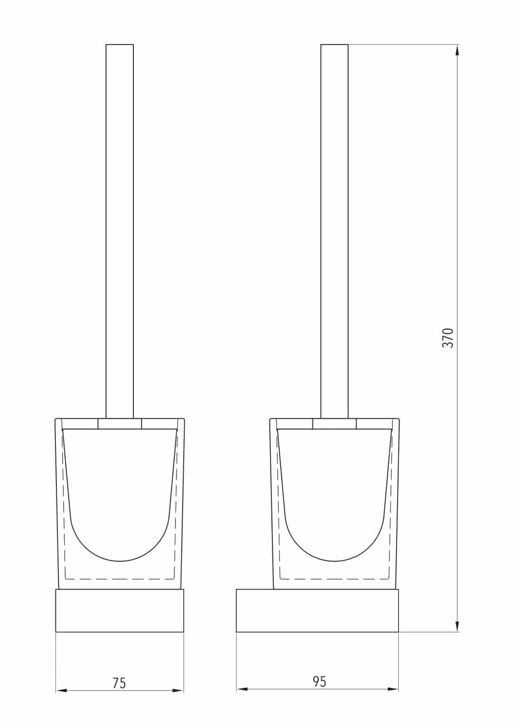 Luzzo® Piazzo Messing Toiletborstel met wand houder - chroom