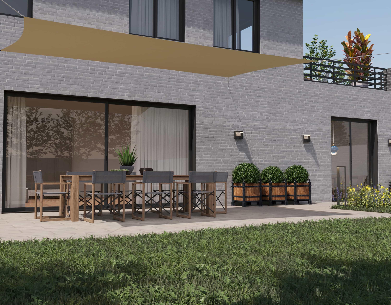 hanSe® Schaduwdoek Rechthoek Waterdoorlatend 2x4,5 m - zonnedoek Creme