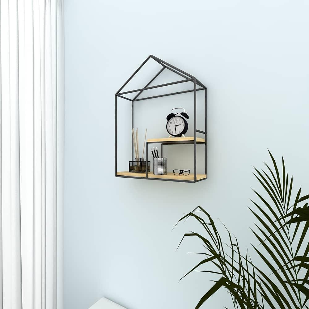 4livingz Shapes 4-delige wandrek set metaal/hout - 39x40x11 cm - Zwart