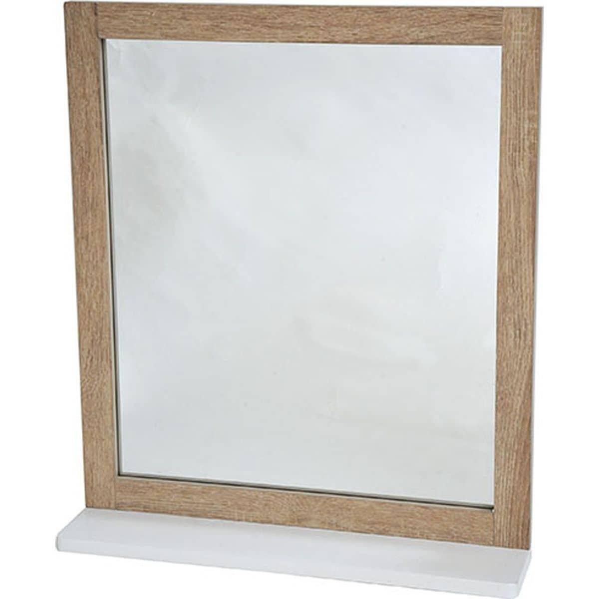 4goodz Badkamer spiegel Vierkant Stockholm 48x10x53 cm - wit/bruin