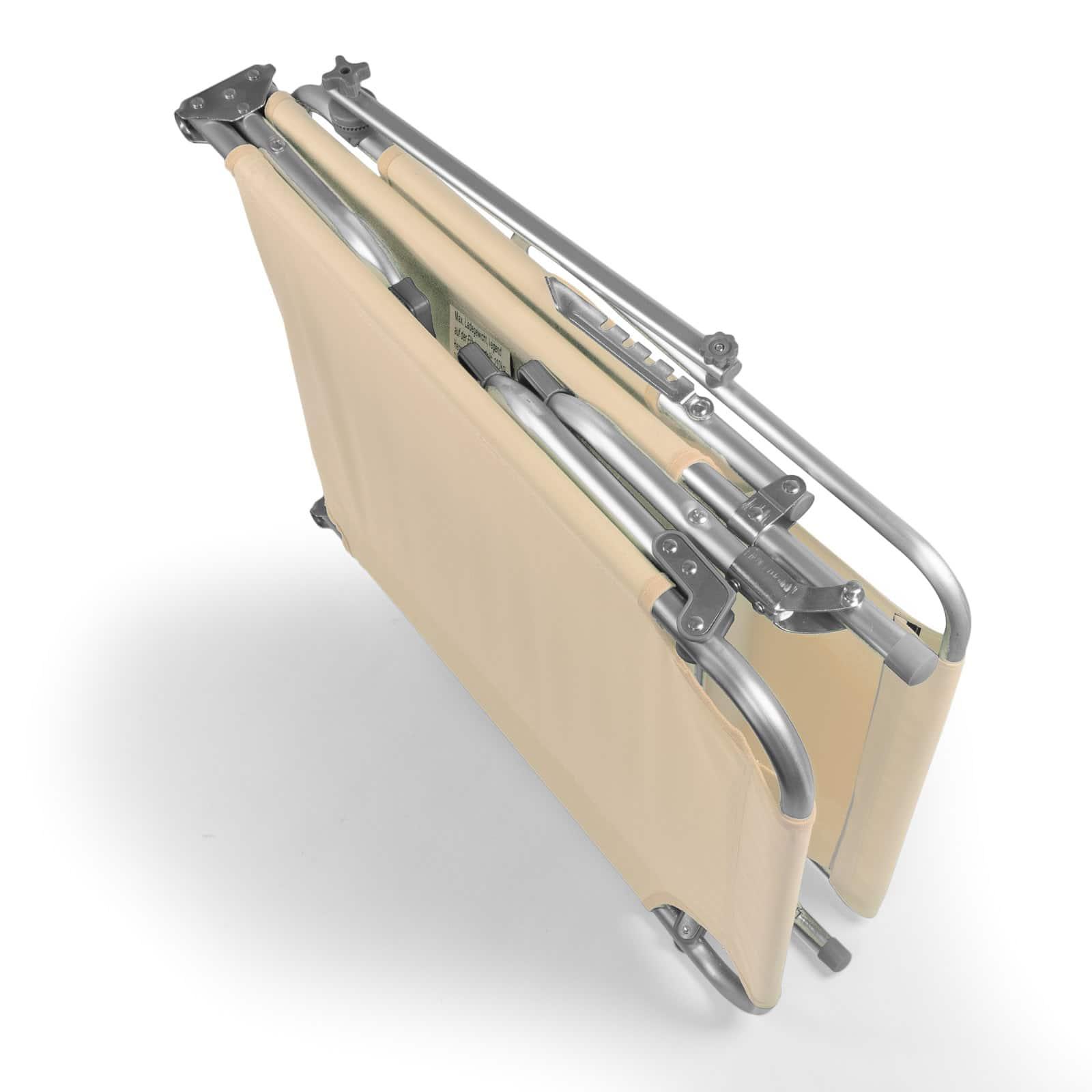 Comfortabel Aluminium Ligbed met Zonnendak 190x57 cm - Zandkleurig