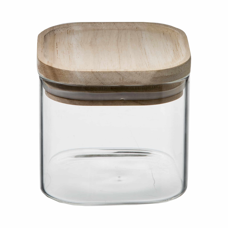4goodz set 4st voorraadpotten glas met houten deksel - 0.5 en 1 ltr