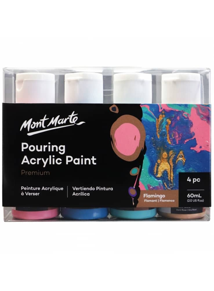 Mont Marte® Pouring Paint Flamingo - 4 potjes pouringverf a 60 ml
