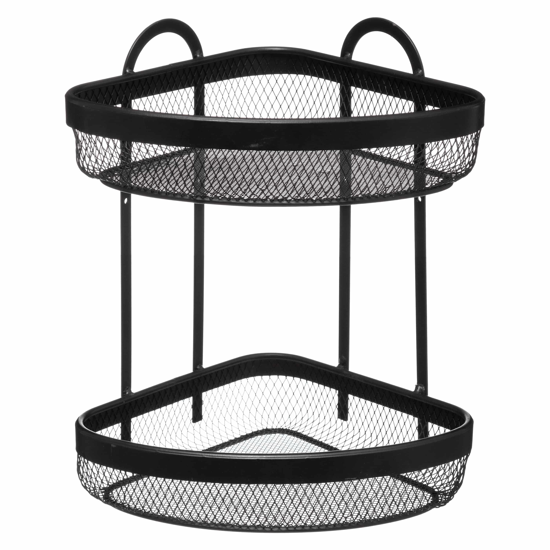 2-laags metalen doucherek hangend hoekmodel - 22x22x33 cm - Zwart