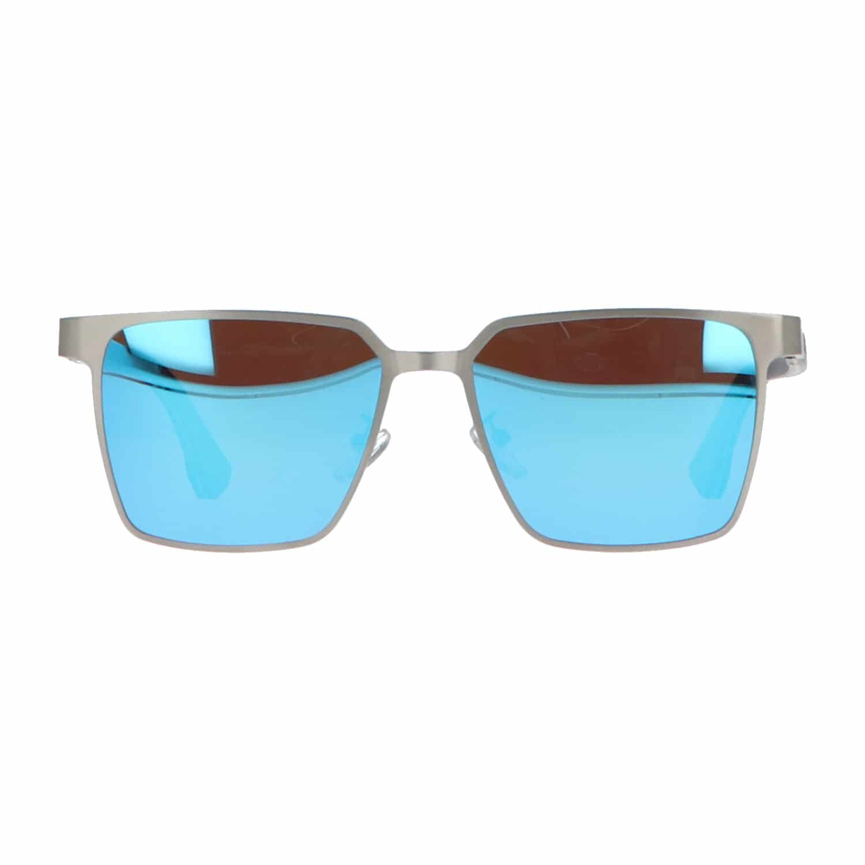 5one® Napoli Square Blue - Zonnebril met houten poten - spiegelglas