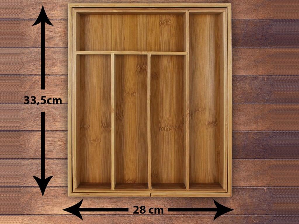 4goodz Bestekbak Bamboe Uitschuifbaar 28-45 cm - 33,5 cm diep