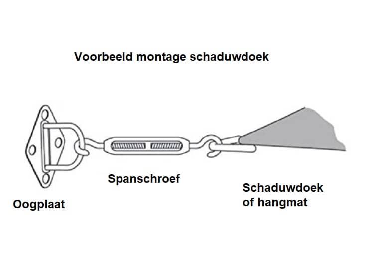 4gardenz 18 delige RVS Schaduwdoek/zonnedoek Montageset 6 mm Driehoek