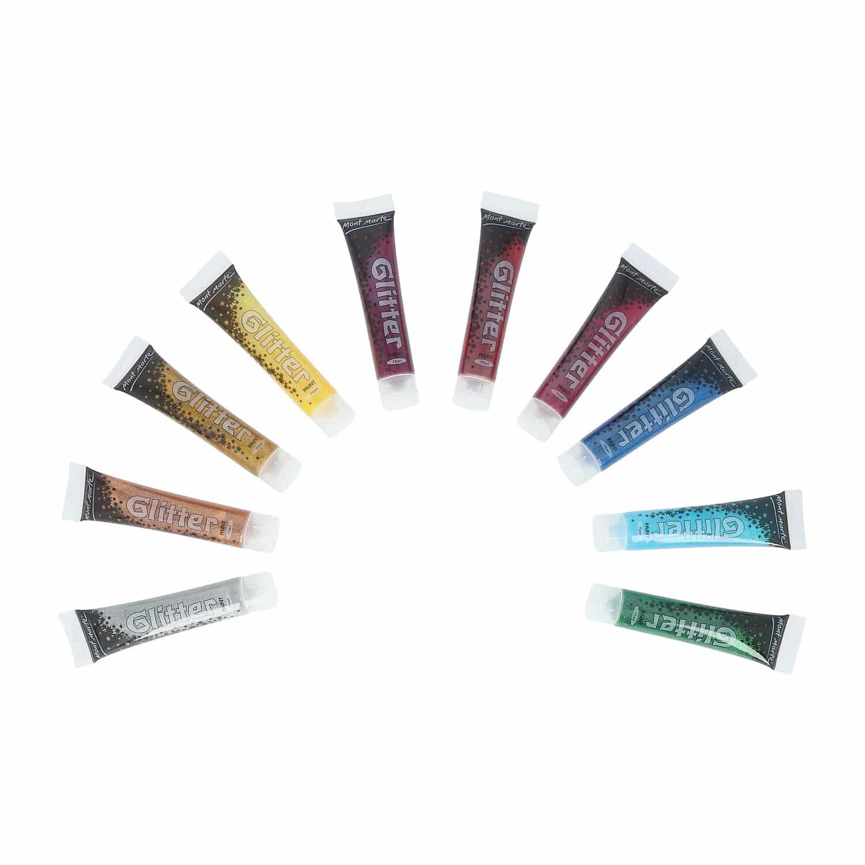 Mont Marte® acrylverf set van 10 tubes glitterverf - 75ML per stuk