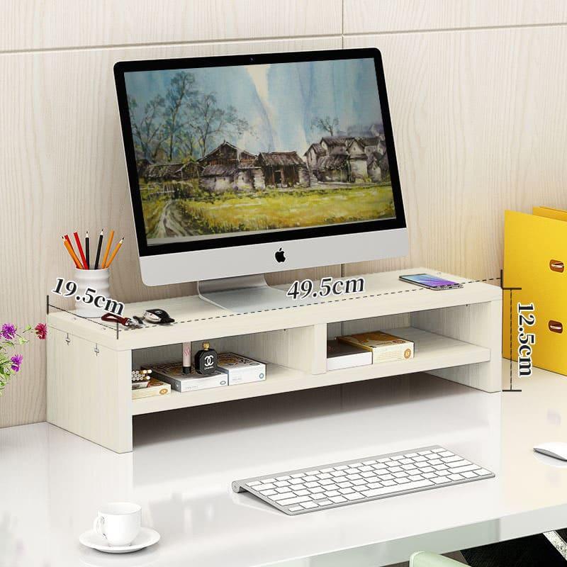 4offiz Monitorstandaard Beeldscherm Verhoger 19,5x49,5x12,5 cm - Bruin