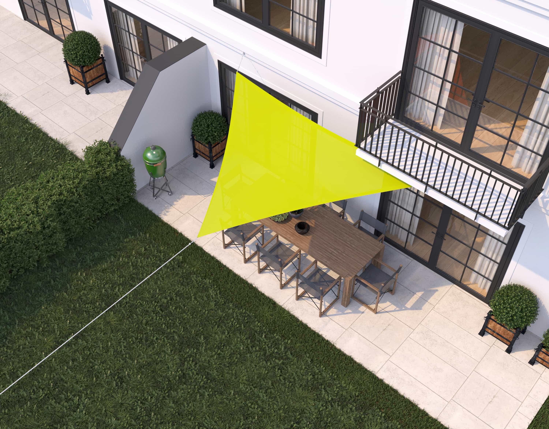 hanSe® Schaduwdoek Driehoek Waterdoorlatend 4x4x4 m - zonnedoek - Lime