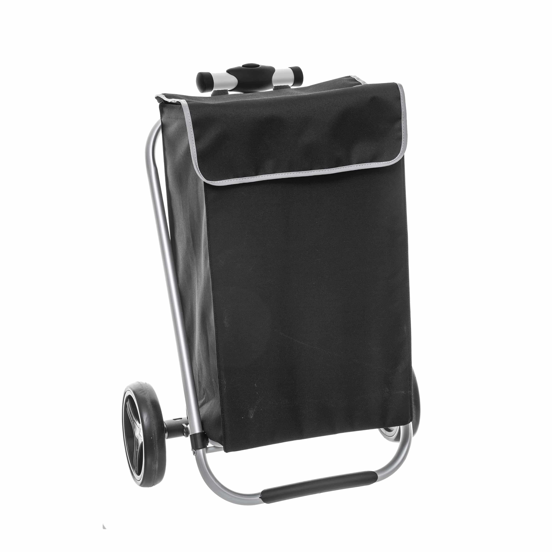 4goodz boodschappentrolley extra stevig - Zwart met Zilver