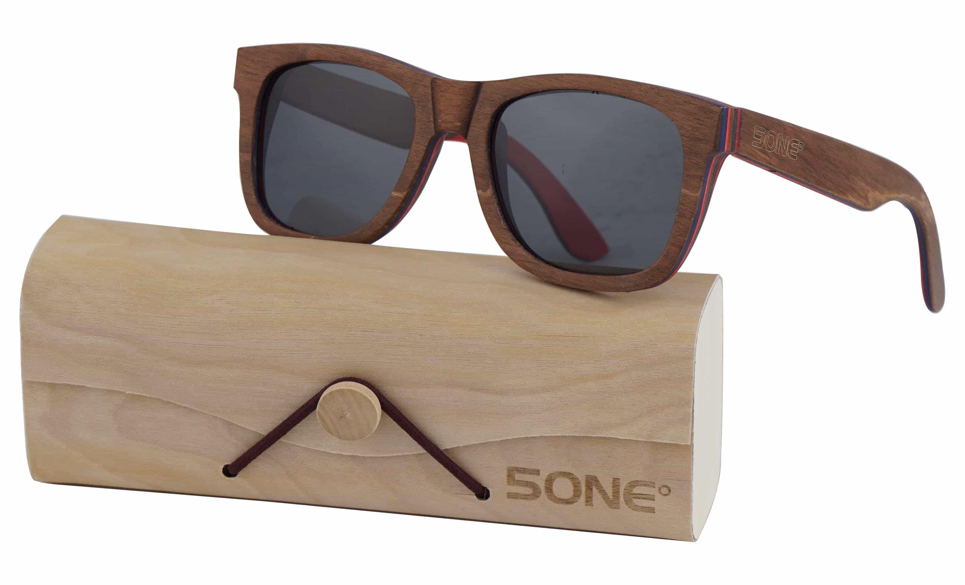 5one® Skateboard Brown - houten zonnebril Grijze lens