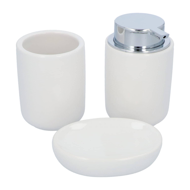 4goodz 3-delige ronde Badkamer accessoires set - wit