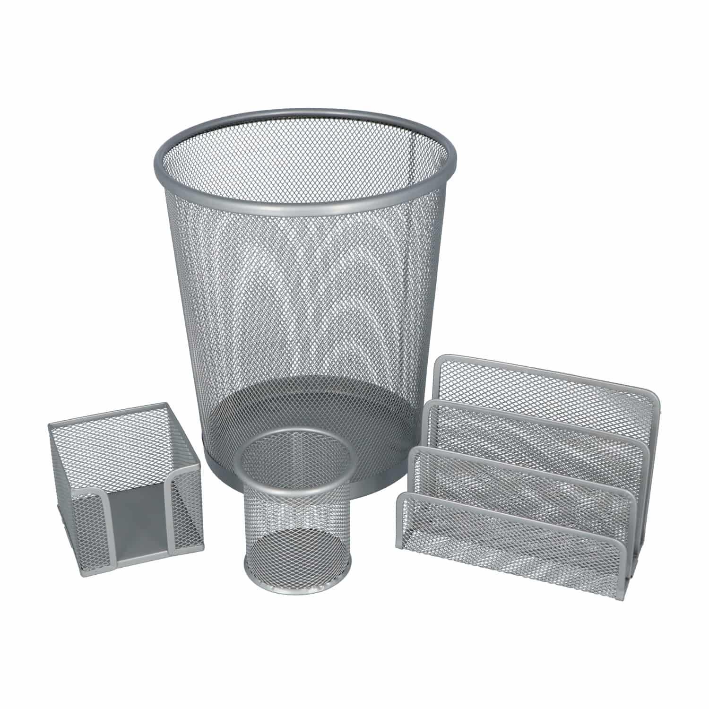 4offiz 4-delige Bureau organizer set metaal - 26,5 cm hoog - Zilver