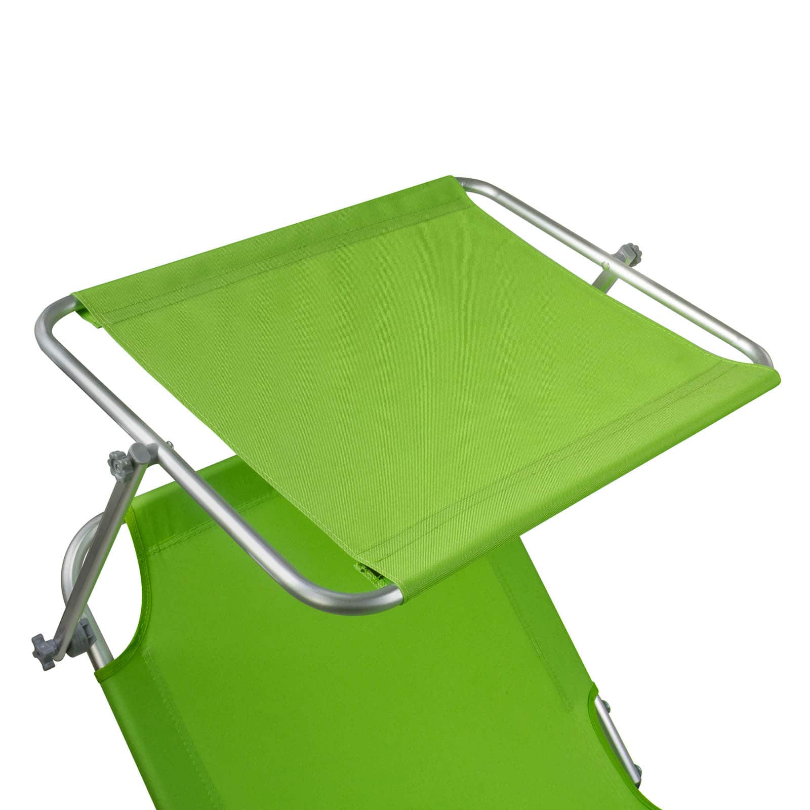 Comfortabel Aluminium Ligbed met Zonnendak 190x57 cm - Limegroen
