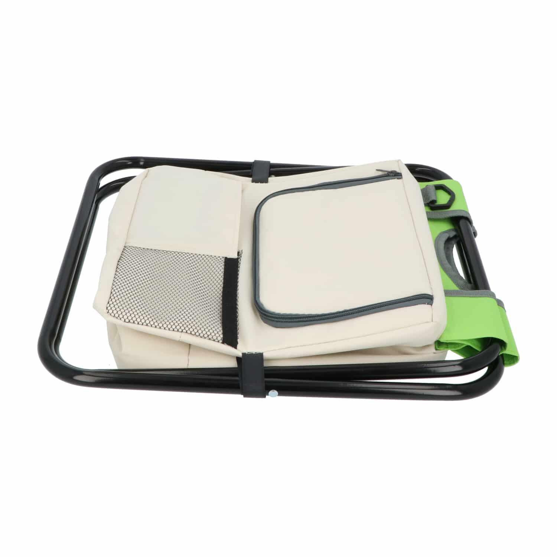 Hanse® Kampeerkruk met koeltas Groen/Beige - 42x28x36 cm - Visstoel