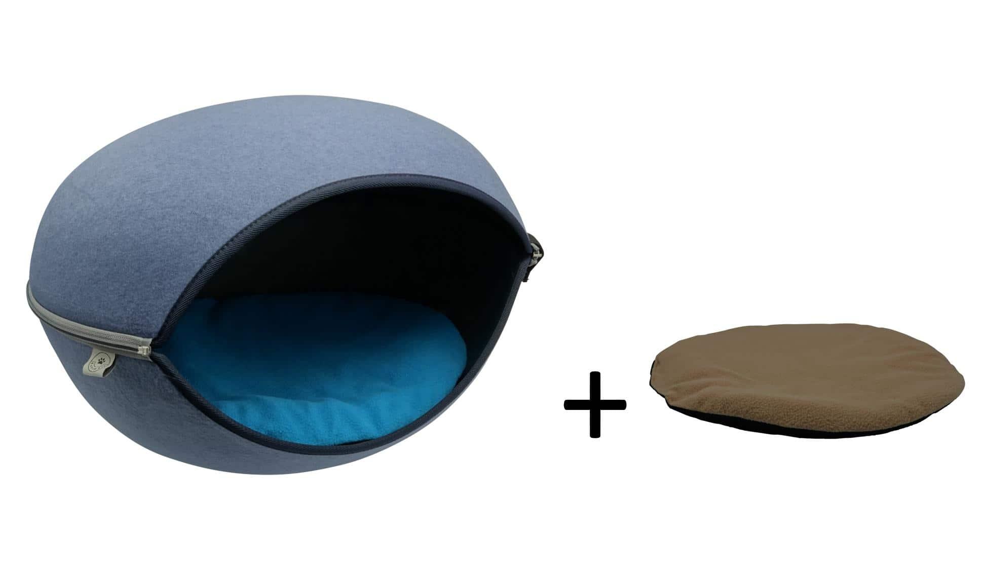 4animalz grote vilten kattenmand in Blauw - 52x45x33cm - blauw/beige