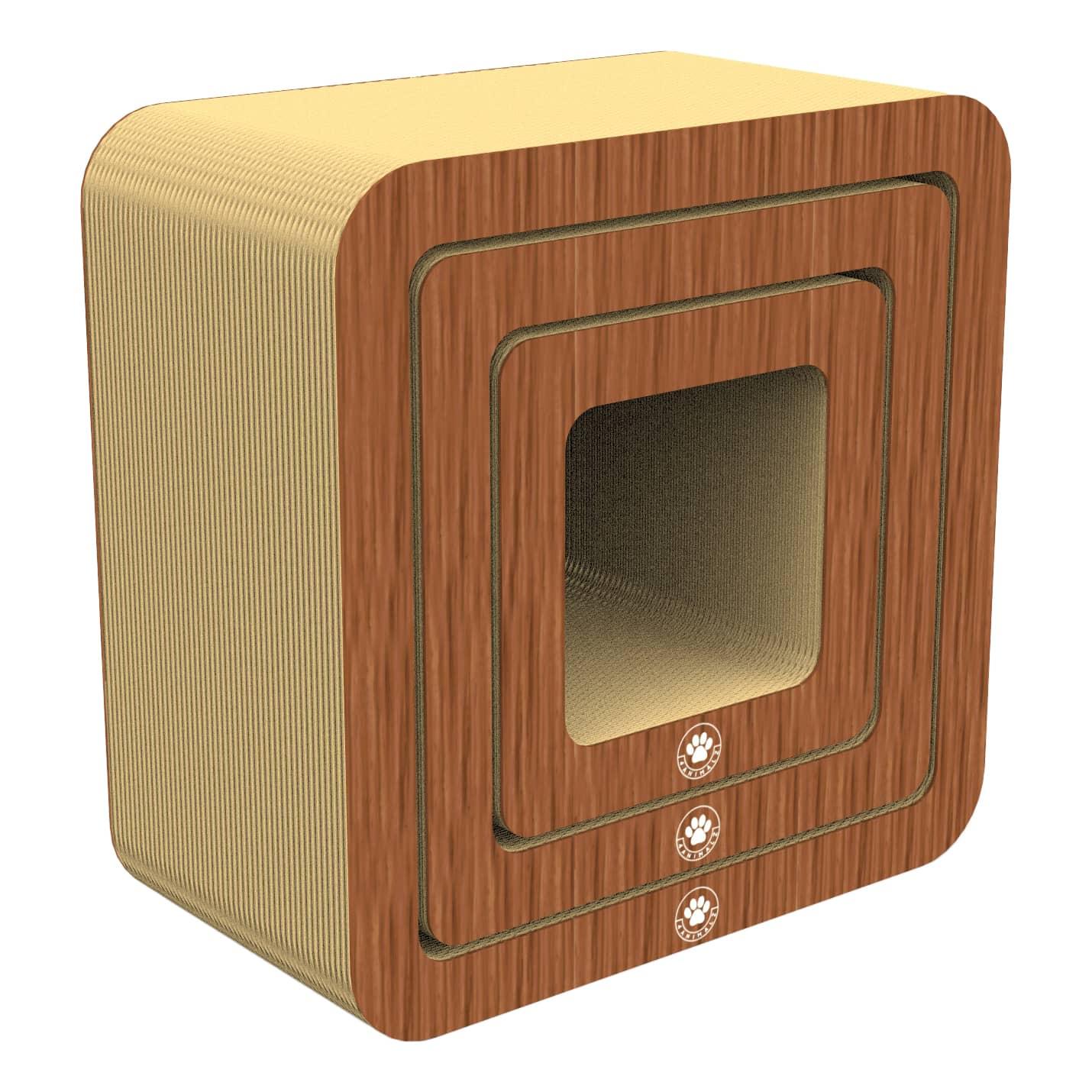 4animalz® Cube Walnut - kartonnen krabpaal katten - 45x24x45cm - Bruin