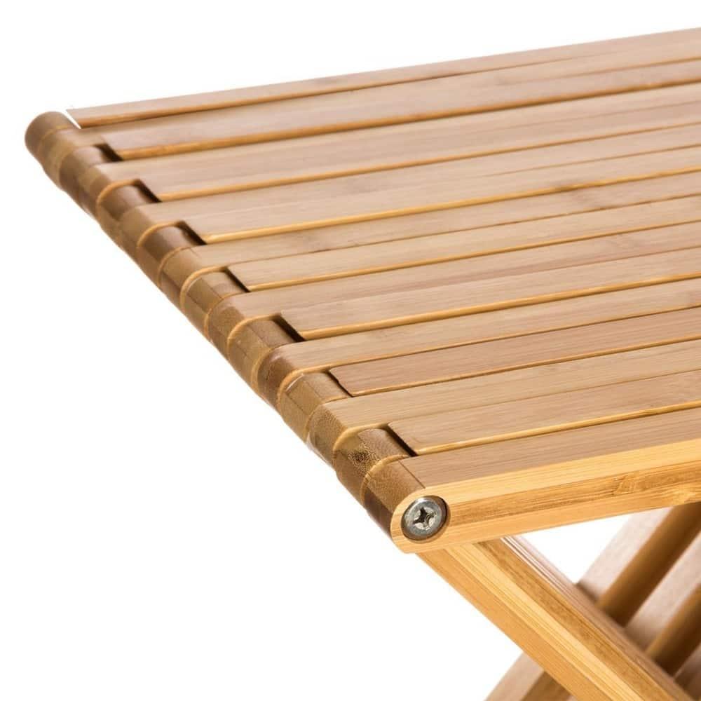 4goodz stevige bamboe vouwkruk 40x32x45 cm - Bruin