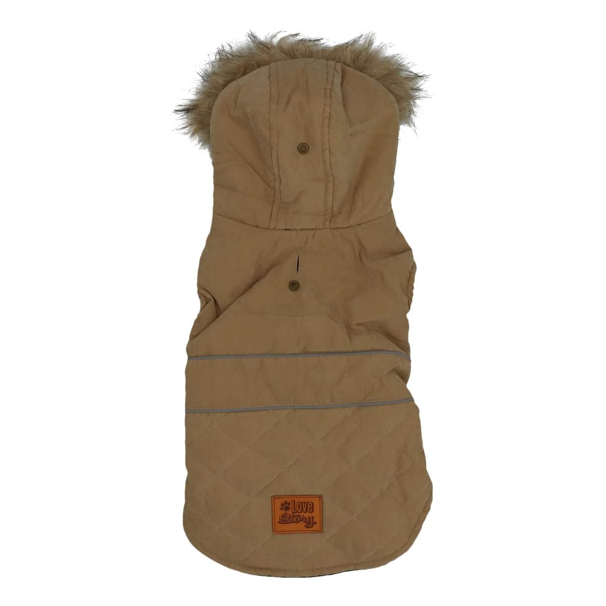 4Goodz Hondenjas met bontkraag - winterjas hond 30 cm - Taupe