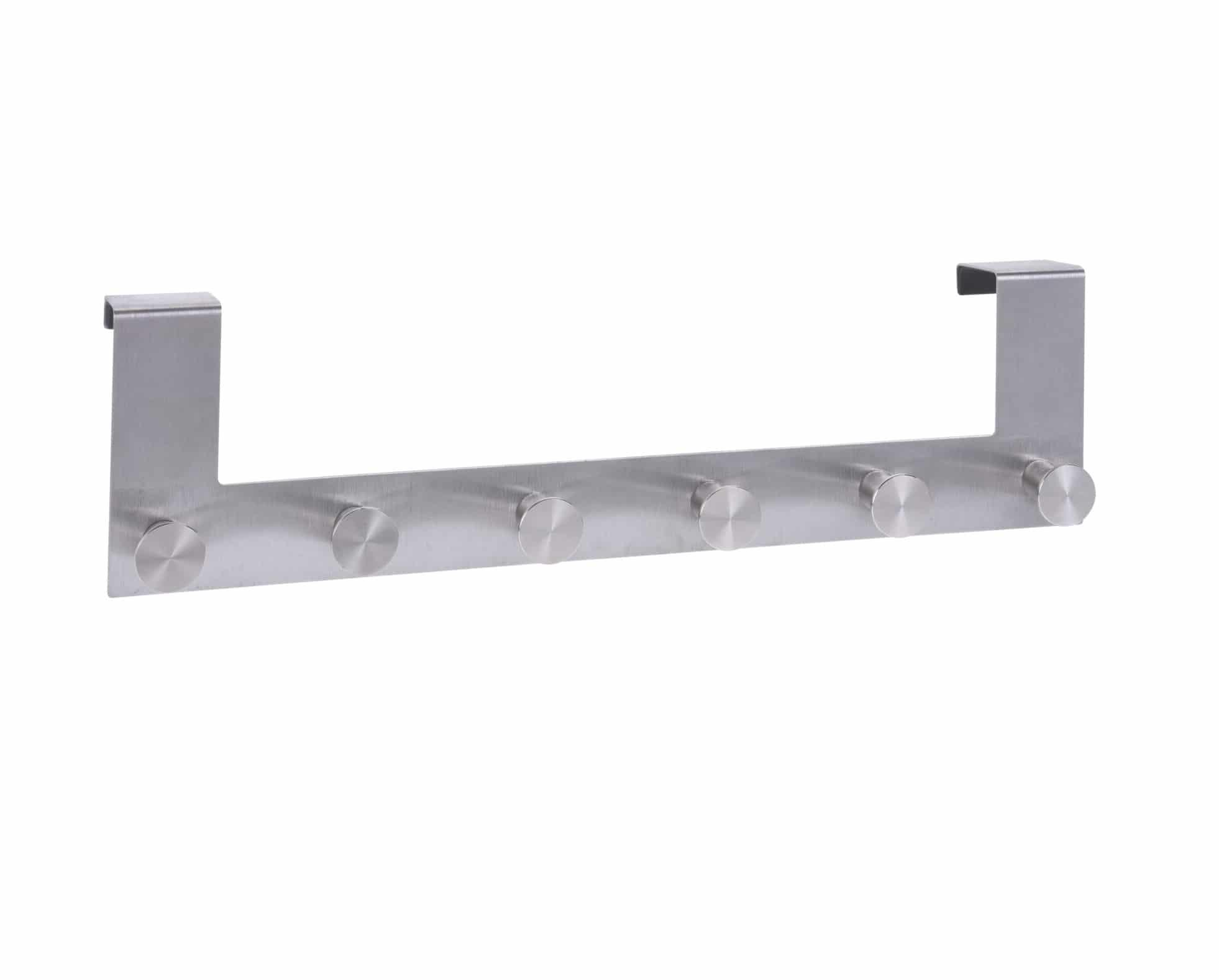 4goodz Deurkapstok RVS met 6 knoppen - 7,5x42x17 cm - Zilver