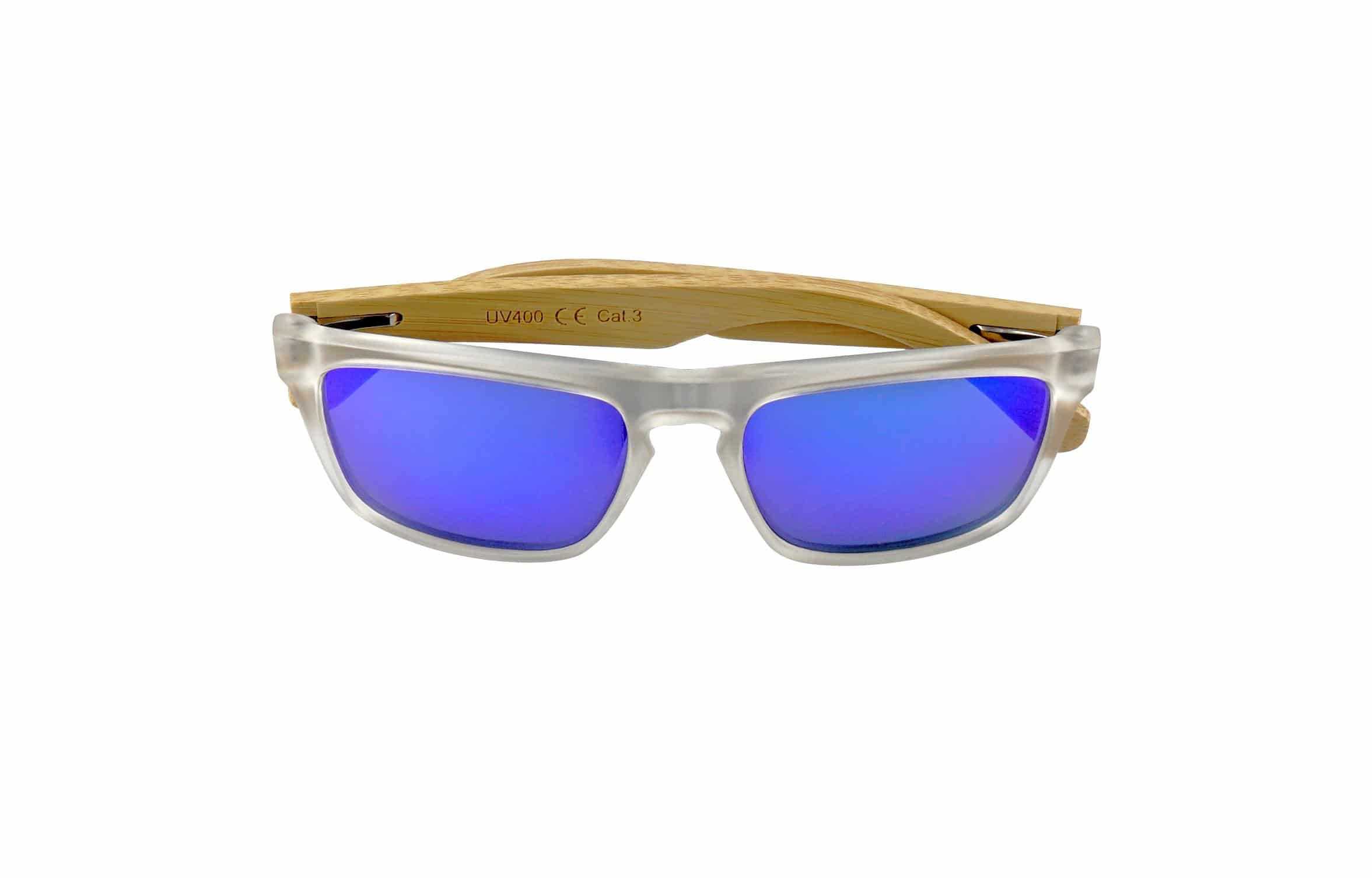 5one® Bali Blue – bamboe houten zonnebril - Blauw/transparant