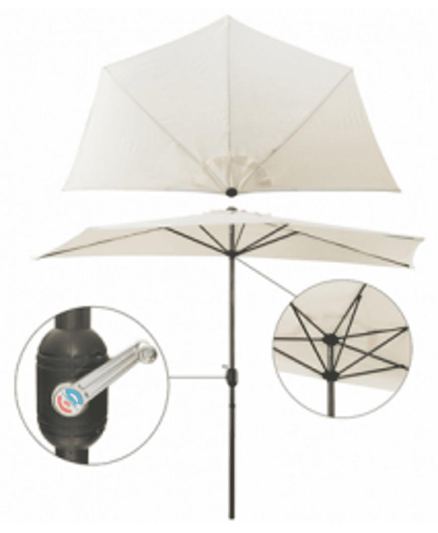 4gardenz® Muurparasol Halfrond 3m diameter - 300x154x235 cm - Creme