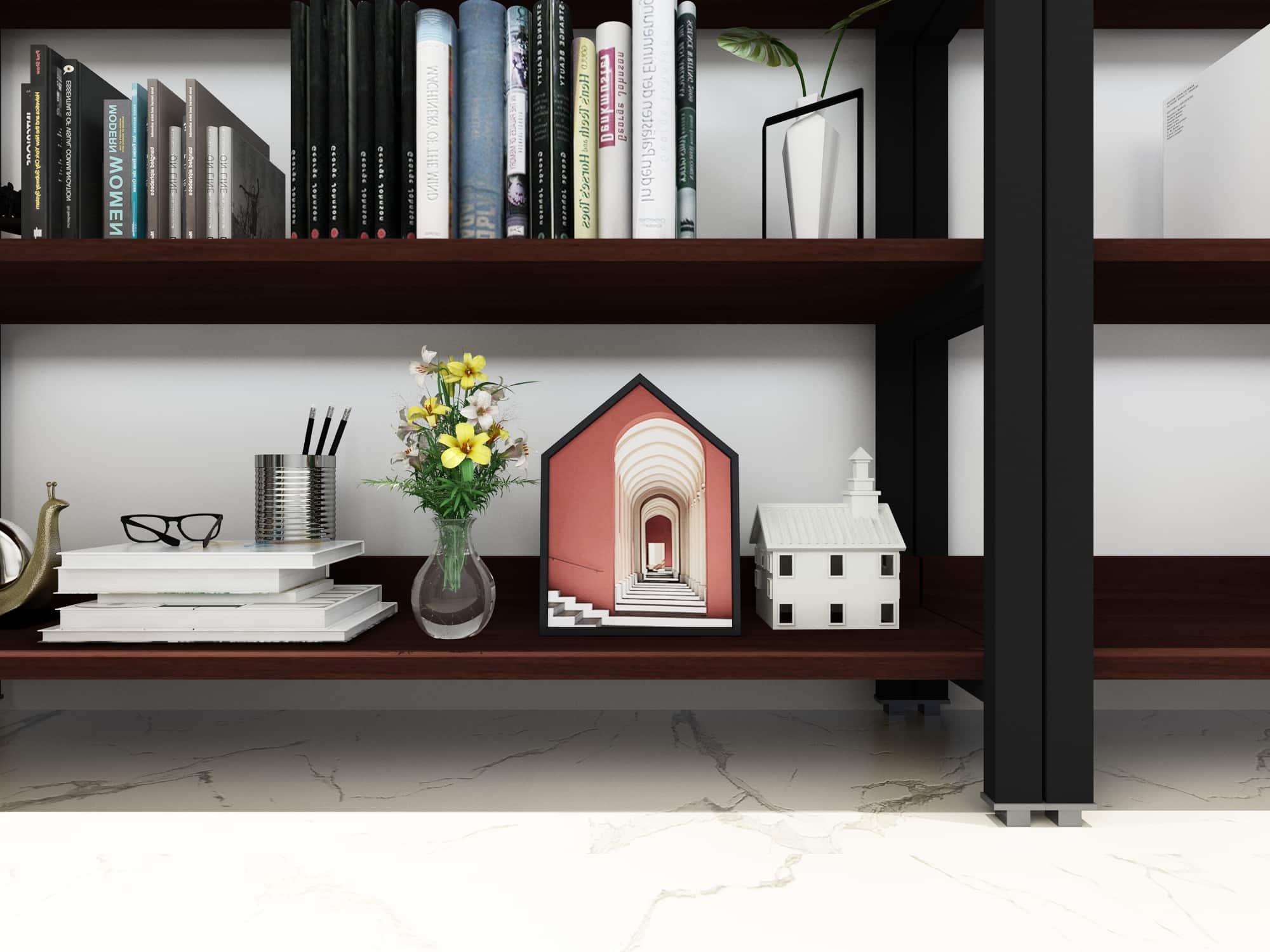 4livingz Retro Industriële Boekenkast 4 schappen 30x80x144 cm - Zwart