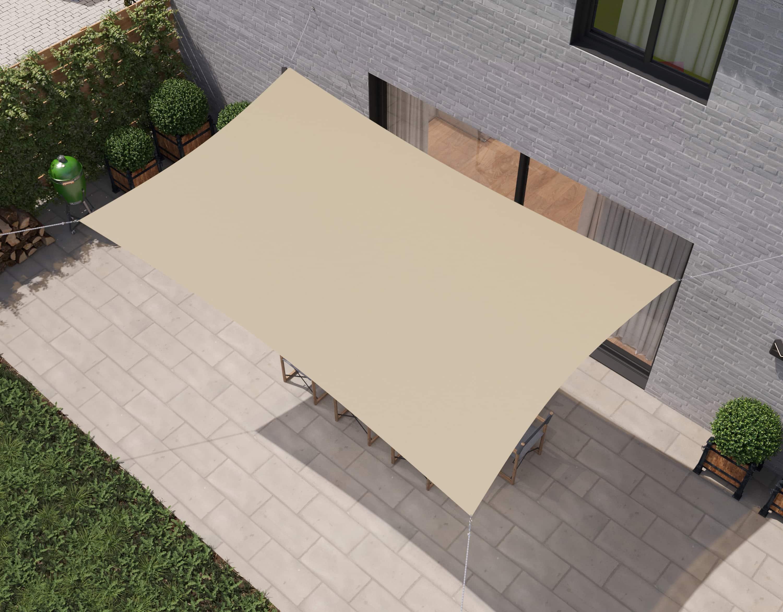 hanSe® Schaduwdoek Rechthoek Waterdoorlatend 2x3 m - zonnedoek - Creme