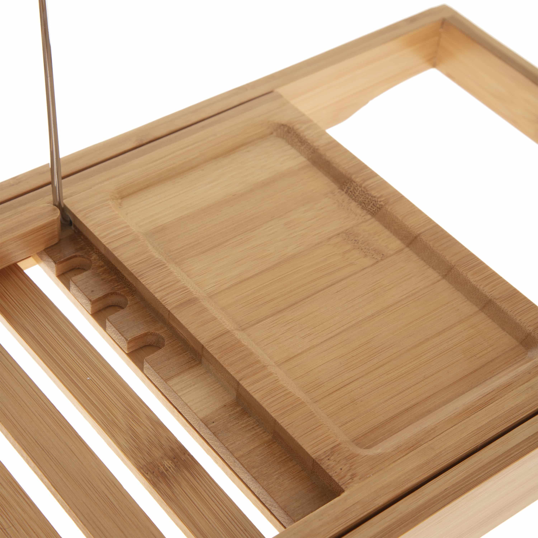 4goodz uitschuifbaar bamboe badrek met boekstandaard 70-105 x22x4 cm
