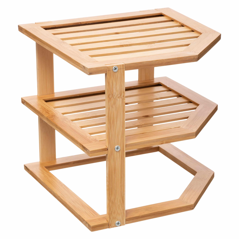 4goodz 3-laags bamboe hoek-opbergrek voor borden - 25x25x23cm