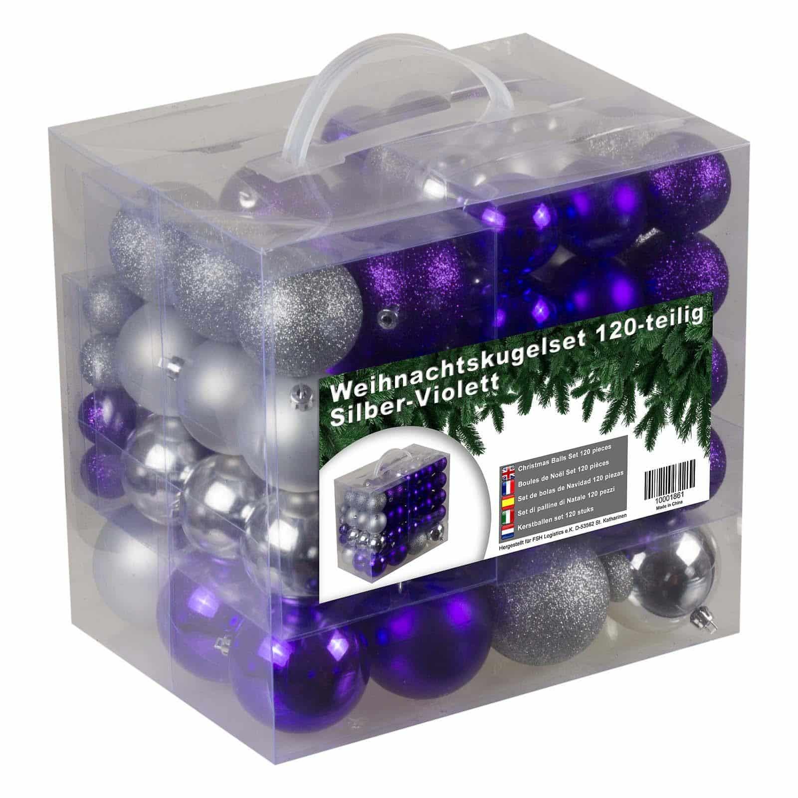 Kunststof Kerstballen set 120 ballen - binnen buiten - Zilver/Paars