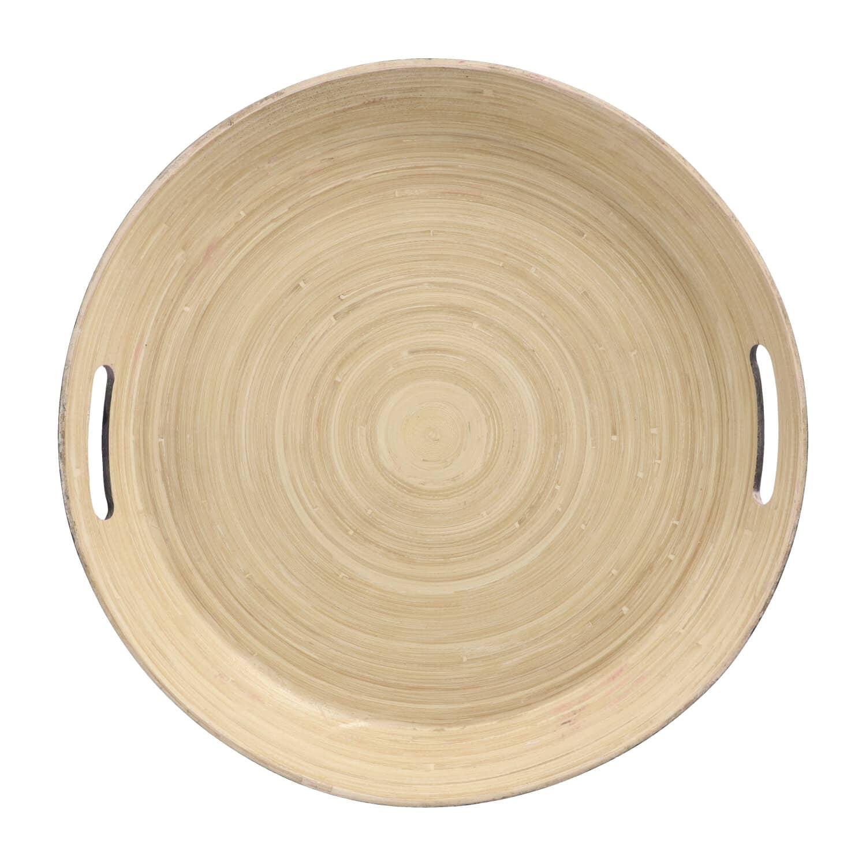 4Goodz Dienblad Rond van Bamboe met handgrepen 42cm - Zwart
