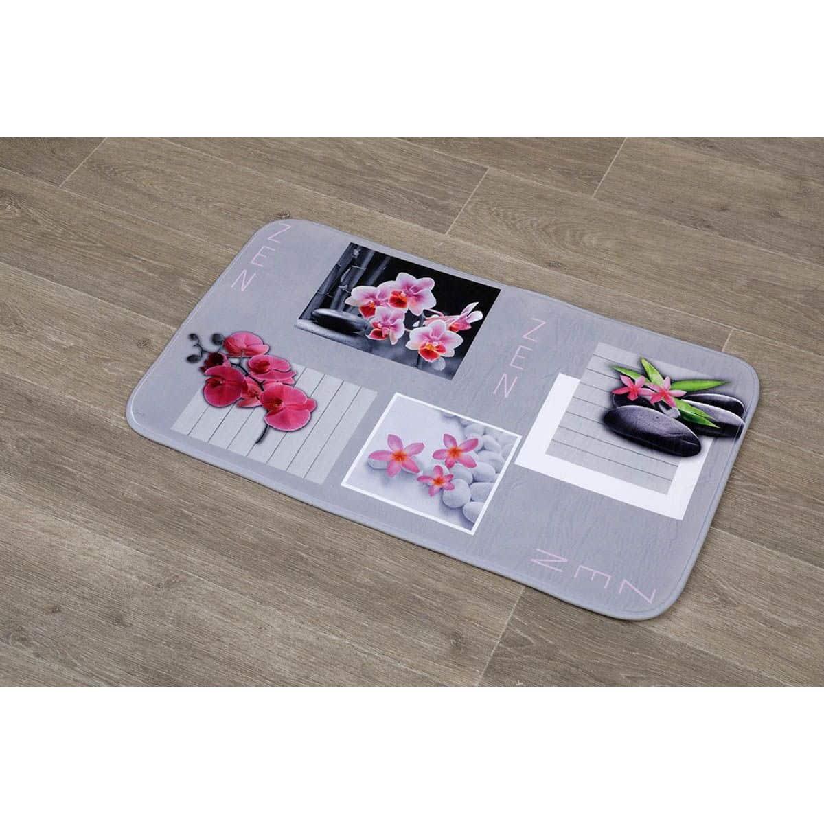 4goodz Zen Microvezel Badmat met orchidee print 45x75 cm roze