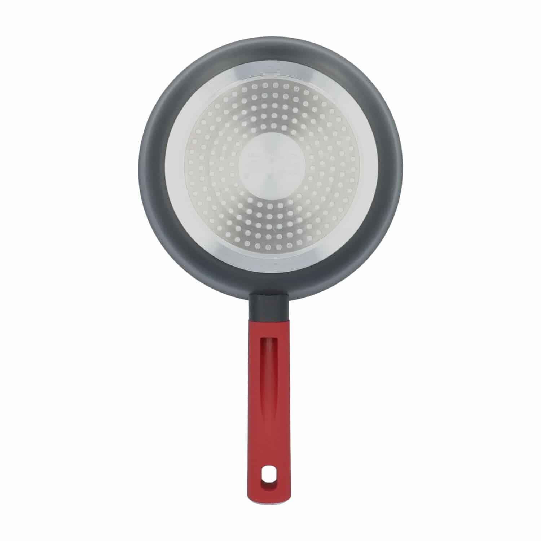 4goodz Aluminium Koekenpan met siliconen handvat 20cm - zwart/rood