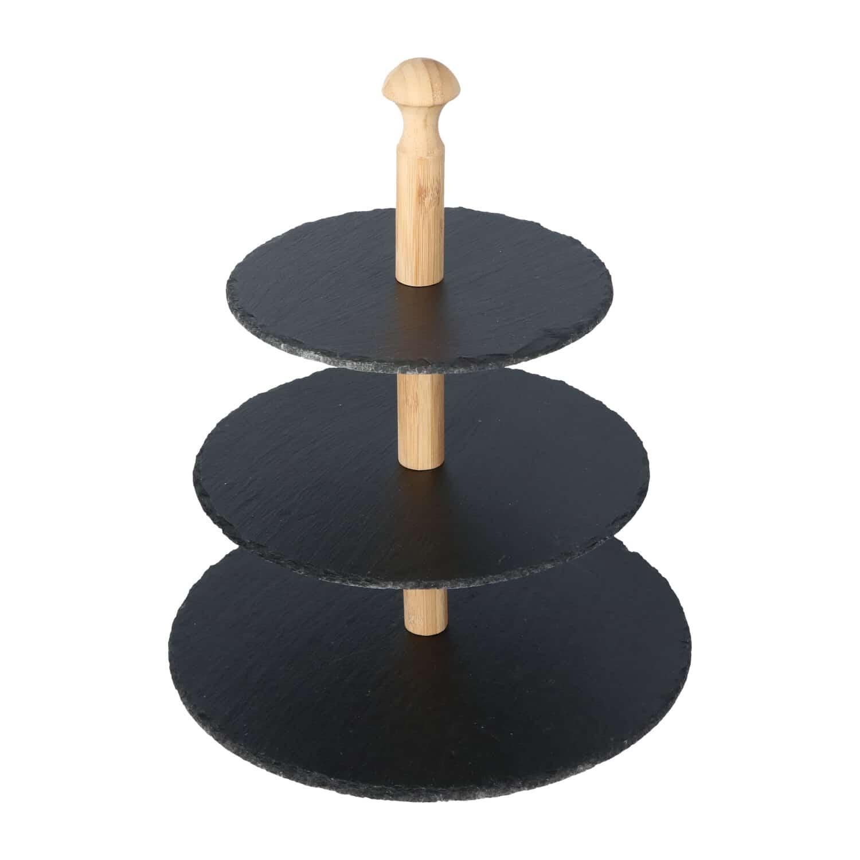 4goodz 3-laags Etagère van Leisteen met Bamboe - Grijs