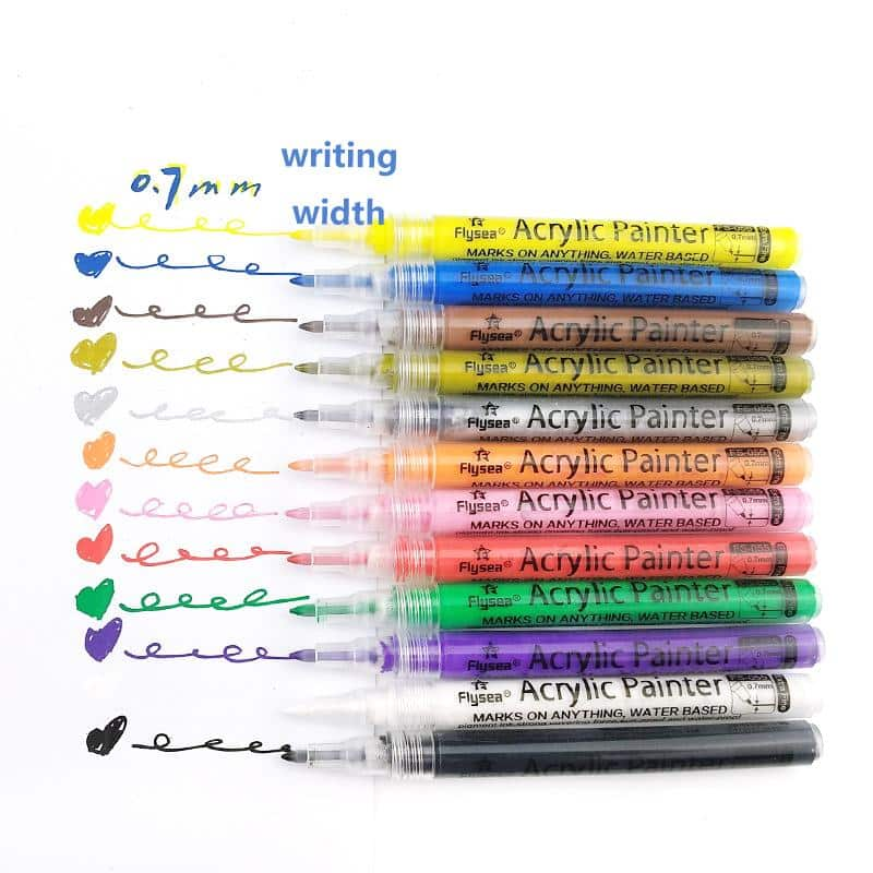 4artz® set van 12 fineliner acrylmarkers - glas en happy stone markers - 0,7 mm punt
