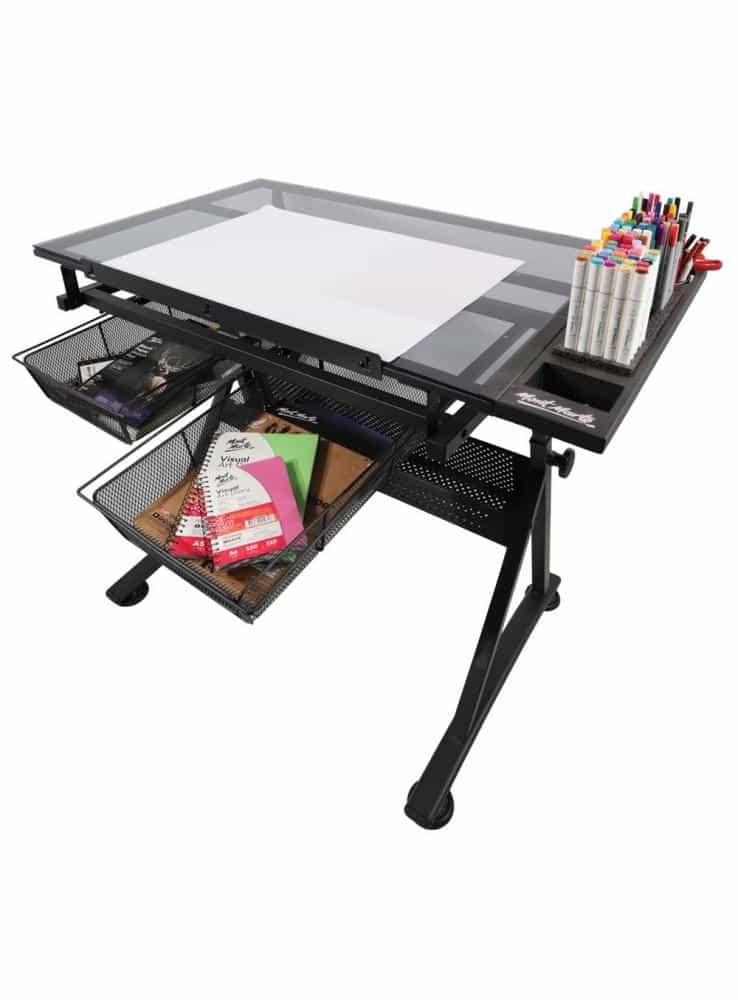 Mont Marte® glazen tekentafel Deluxe - in hoogte en hoek verstelbaar