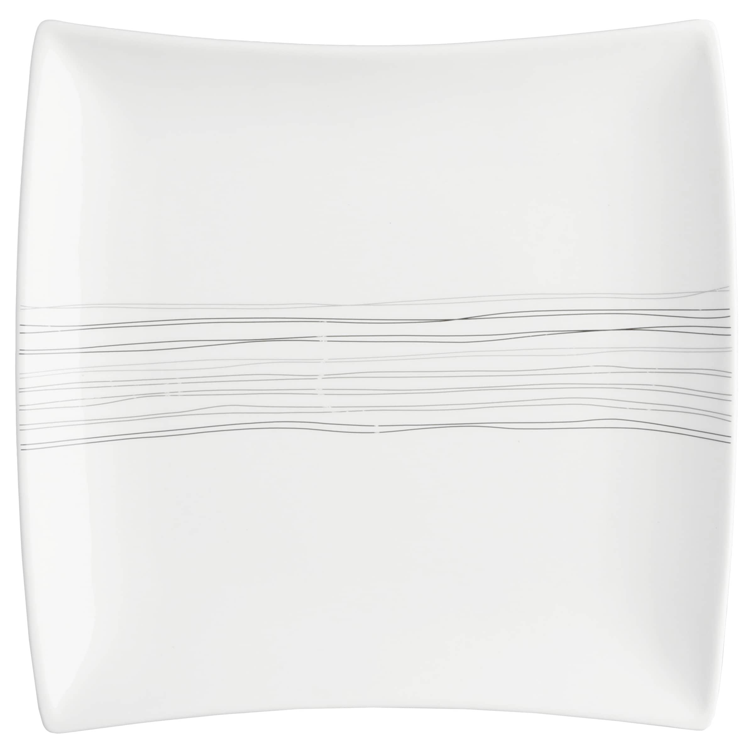 4goodz Lines set 6x Porseleinen Ontbijtborden Vierkant 20x18 cm - Wit
