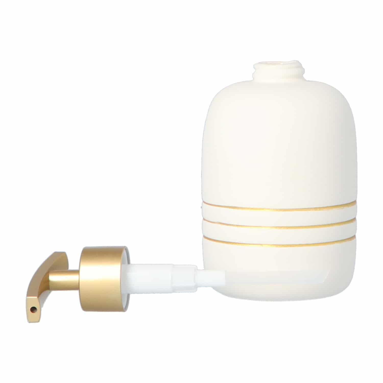 4goodz Zeeppomp 300 ml keramiek met gouden strepen - Creme