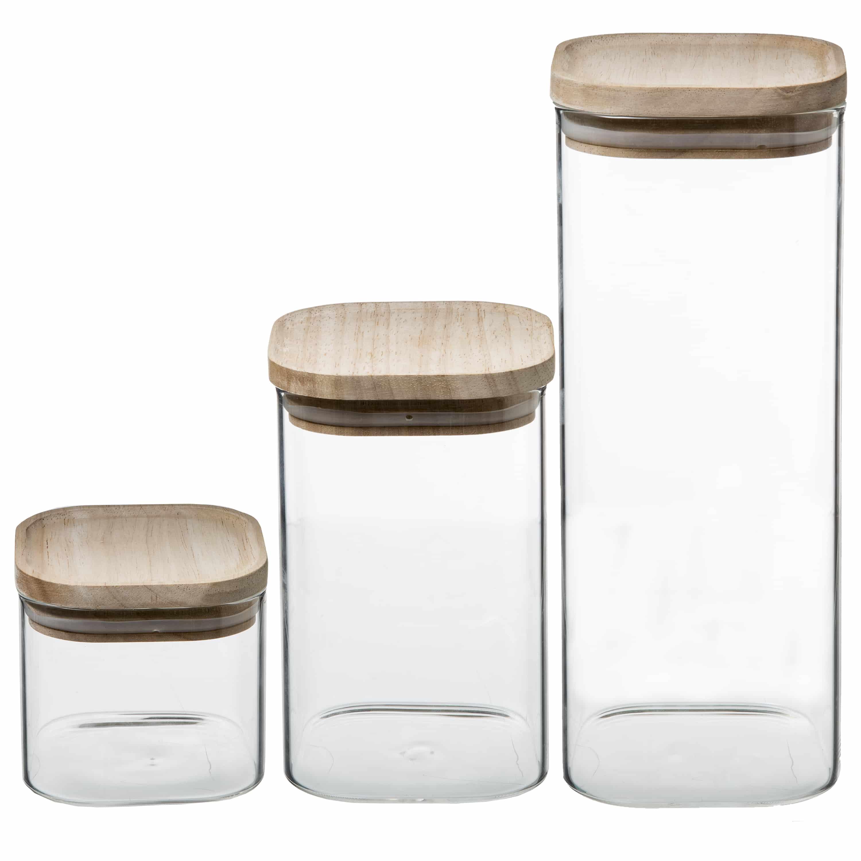 4goodz set 3st voorraadpotten glas met houten deksel - 0,5L/1L/1,8L