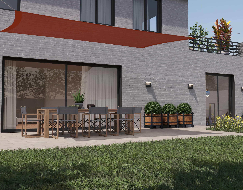 hanSe® Schaduwdoek Rechthoek Waterdoorlatend 2x4 m - zonnedoek - Terra