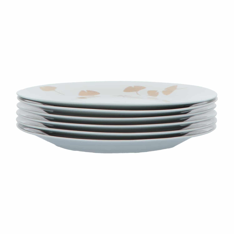 4goodz Porseleinen Diner Borden Ginko set 6 stuks 27,5 cm - Wit/Goud