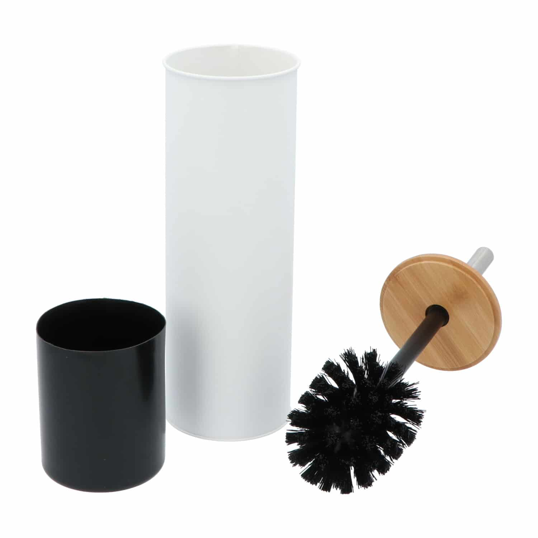 4Goodz metalen toiletborstelset met bamboe deksel - Wit