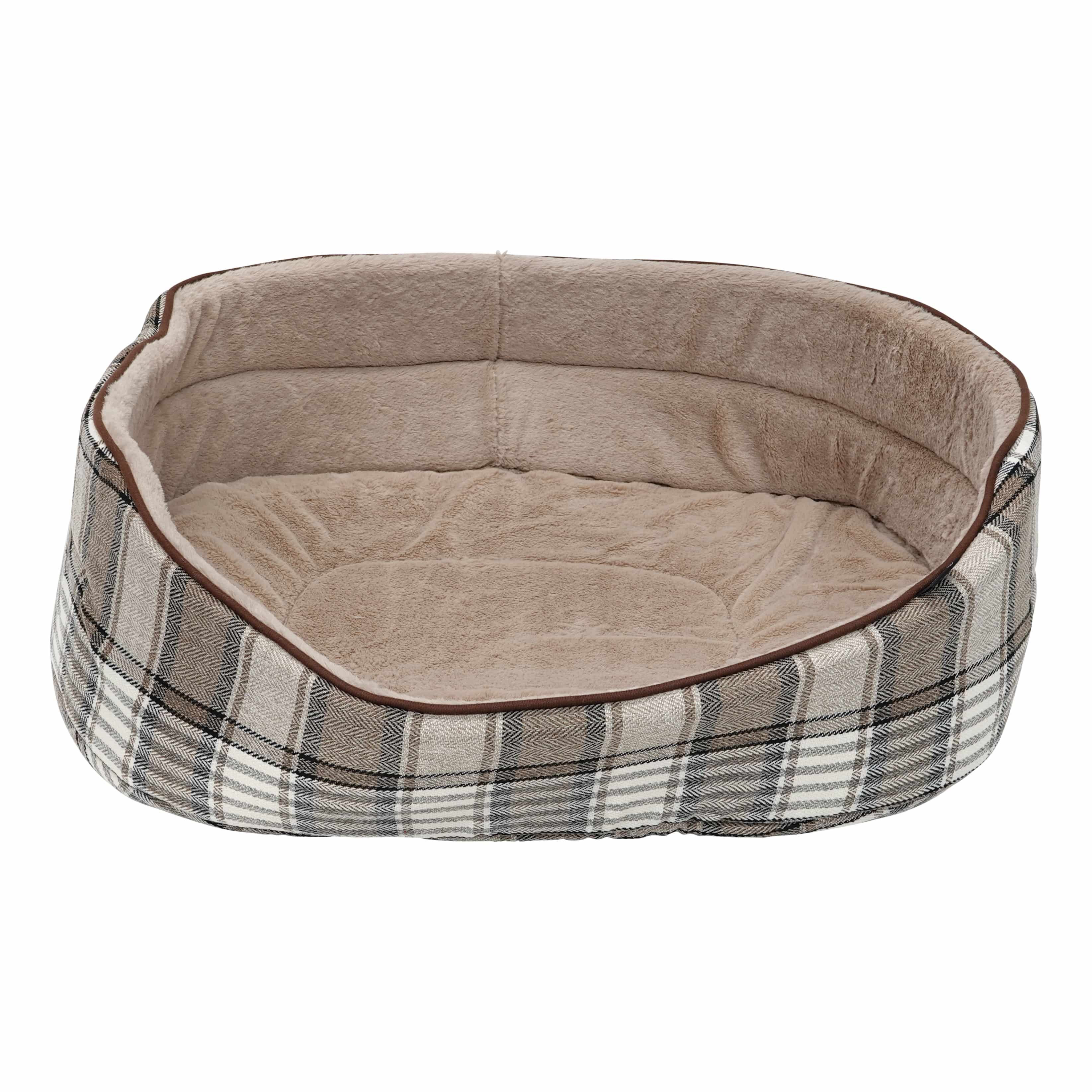 4Goodz ovale hondenmand Schotse ruit 80x63 cm voor grote hond - Taupe