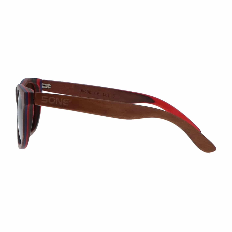 5one® Skateboard Brown - houten zonnebril Bruine lens - inclusief doos